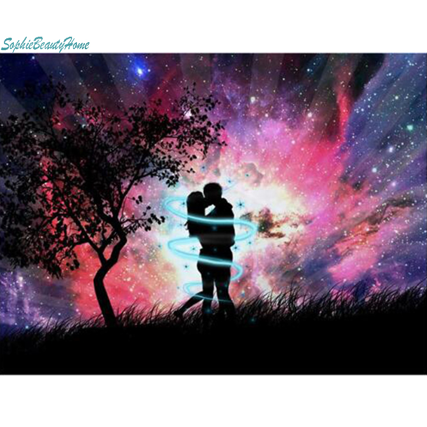Sophie beauty home 5D DIY diamond painting embroidery under the Star couple mosaic cross stitch square wall stickers all decorat