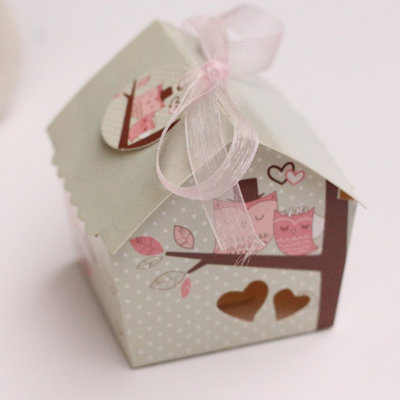 10pcs/set Hot sale Creative cute Mini House Style Owl On the Branch Wedding Favors Candy Boxes Party Gifts Box ...