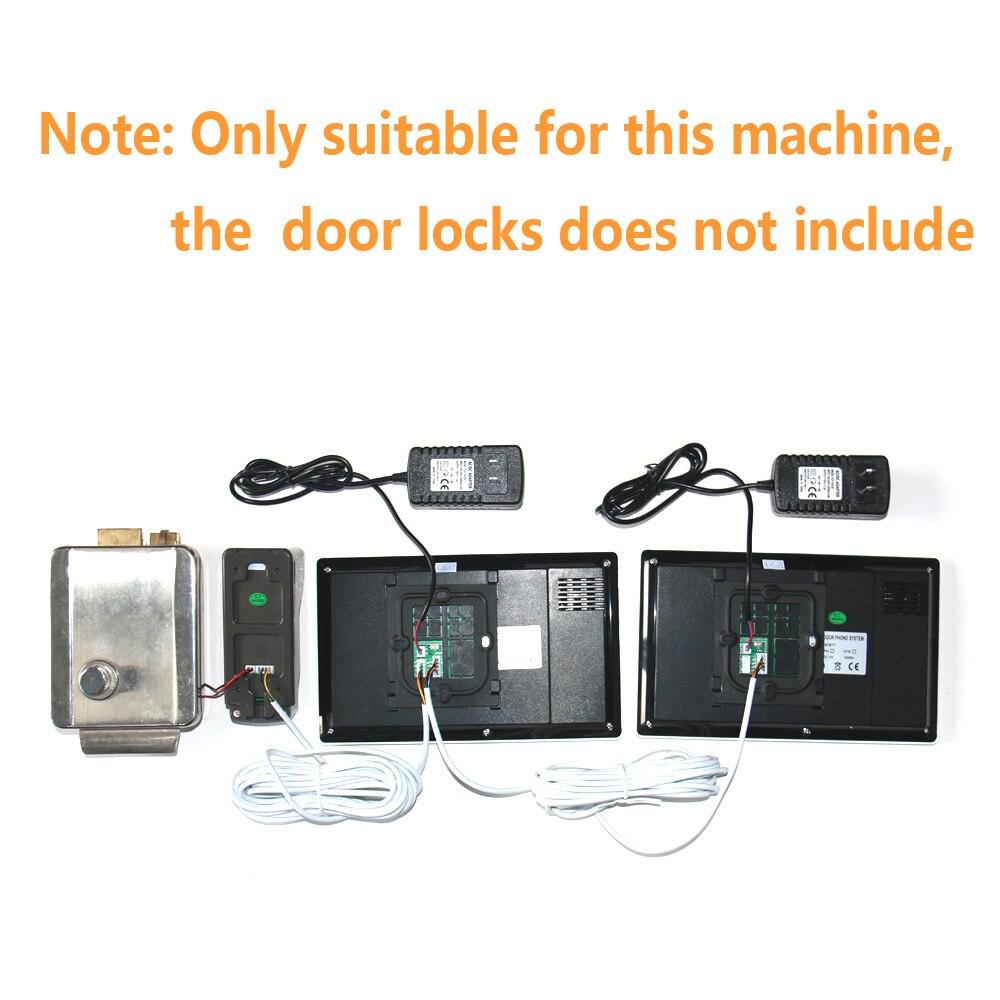 Купить с кэшбэком Visual Intercom Doorbell 7'' LCD Wired Video Door Phone System 2pc white Indoor Monitor 700TVL Outdoor IR Camera Support Unlock