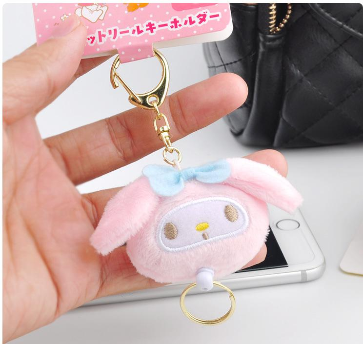 Kawaii My Melody Big Ears Cinnamoroll Dog Pudding Dog Keychain Bag Backpack Plush Soft Animal Stuffed Toy