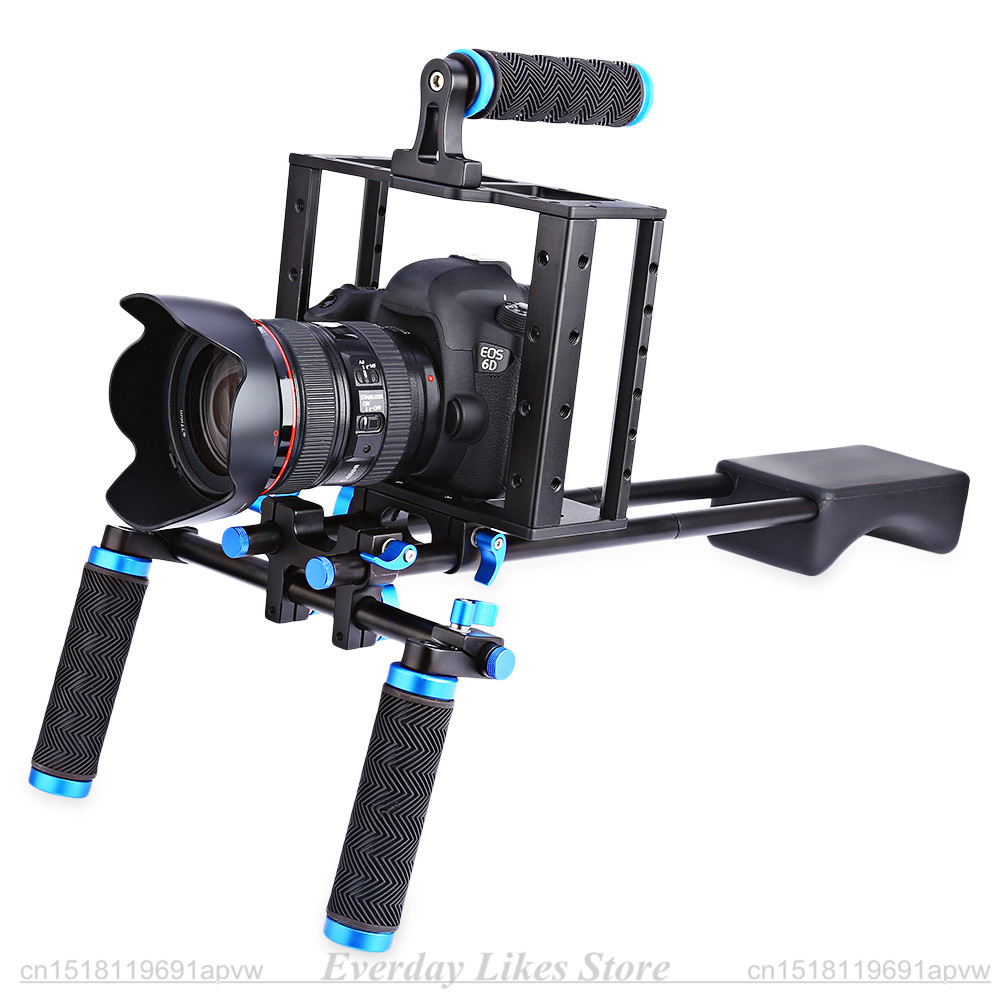 DSLR 4 in 1 Rig Kit Shoulder Video Camera Stabilizer Support Cag Matte Box Follow Focus for Canon Nikon Sony Camcorder 5D 7D DVR dslr rig video stabilizer shoulder mount rig matte box follow focus dslr cage for canon nikon sony dslr camera video camcorder