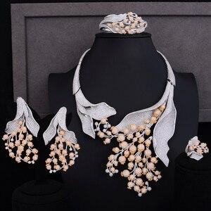 Image 1 - GODKI סופר יוקרה פרג פרח אפריקאי מעוקב זירקון CZ ניגרית נשים חתונה הודי חרוזים כלה תכשיטי סטים