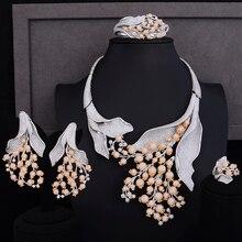 GODKI Super Lusso Fiore di Papavero Africano Zircone Cubico CZ Nigeriano set di Gioielli Per Le Donne di Nozze Perline Indiani Set di Gioielli Da Sposa