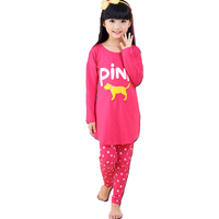 2015 New Arrival Girls 100 Cotton Cartoon Pajamas Kids Print Letter Casual Night Suits Girls Dot