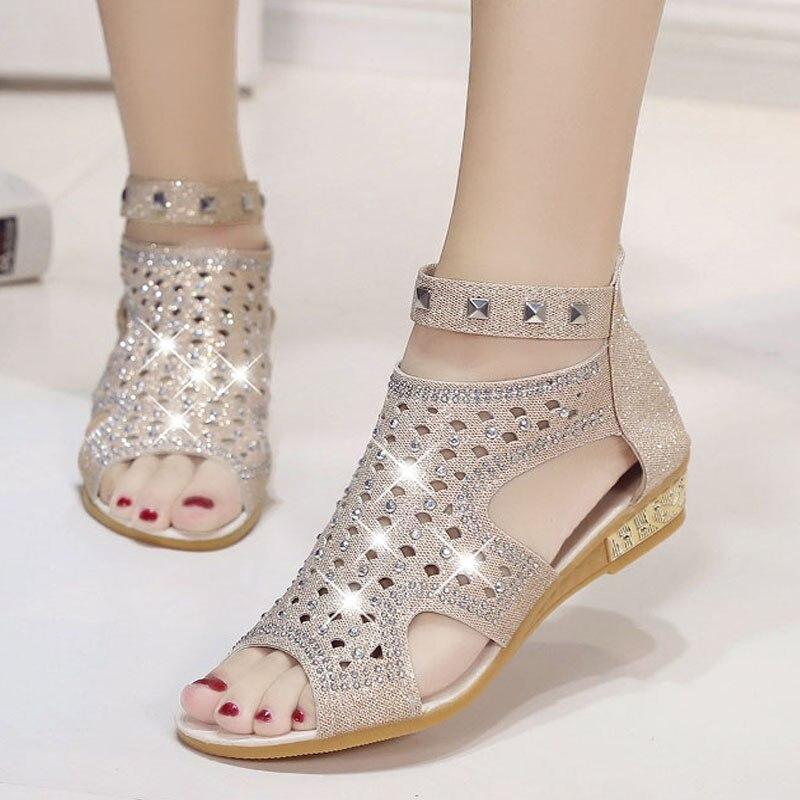 Schuhe FäHig Sandalen Frauen Mode Niet Glanz Peep Toe Schuhe 2018 Sommer Gladiator Sandalen Feminina Wedage Schuhe Hochzeit Sandalia Mujer Rabatte Verkauf