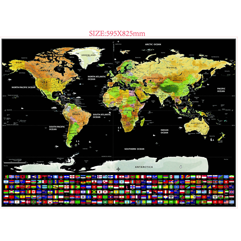 82.5X59.4cm Black World Travel Map Scratch Off Map Personalized Erase World Map Without Tube Creative Decoration Wall Stickers