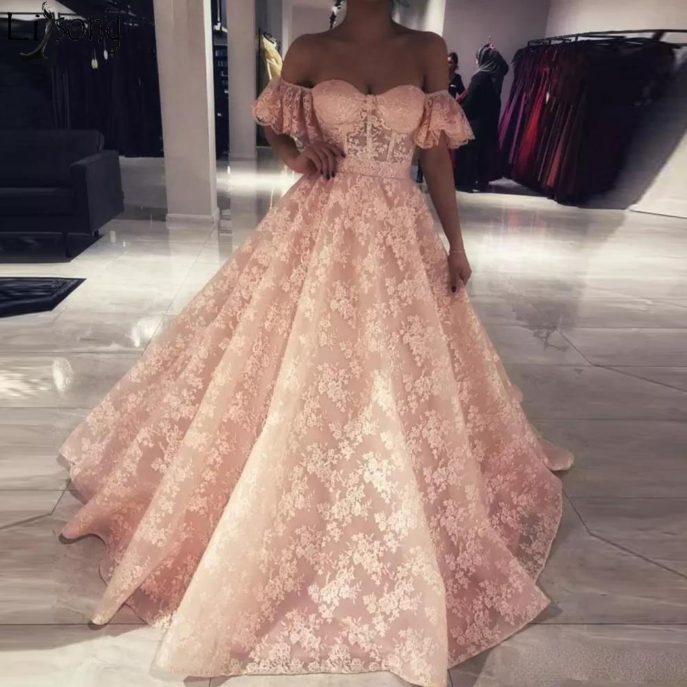 Stunning Blush Pink A Line Lace   Prom     Dress   Off Shoulder Ruched Sweep Train Formal   Dress   Zipper Back Evening   Dress   robe de soiree
