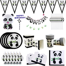 Cute Panda Theme Birthday Party Decorations Kids Plate Napkins Cup Balloons Wedding for Baby Shower Supplies
