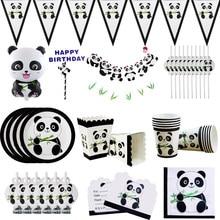 Bonito panda tema festa de aniversário decorações crianças placa guardanapos copo balões aniversário casamento para chá de fraldas suprimentos