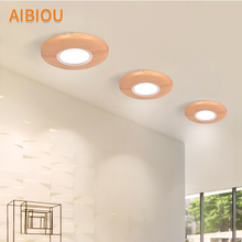 AIBIOU 220V LED Ceiling Lights With Wood Lampshade For Living room 3W Round Aisle Light Aluminum Ceiling Lamp Corridor Light