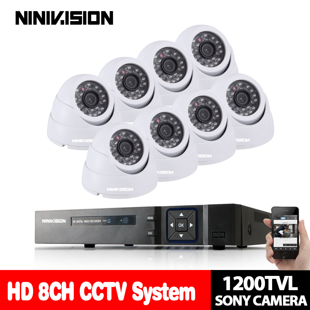 NINIVISION 8CH 1080P HDMI DVR 1200TVL 720P HD indoor Security Camera System 2TB HDD 8 Channel CCTV DVR Kit Sony CCD Camera SetNINIVISION 8CH 1080P HDMI DVR 1200TVL 720P HD indoor Security Camera System 2TB HDD 8 Channel CCTV DVR Kit Sony CCD Camera Set