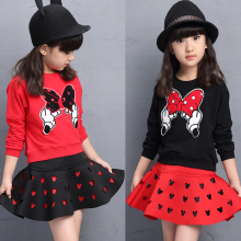 Cute Toddler Girl Clothing Sets Kids 2017 Spring Children Minnie Clothes Cartoon Tshirt+ mini dress 2pcs set 3-8T Girls Set
