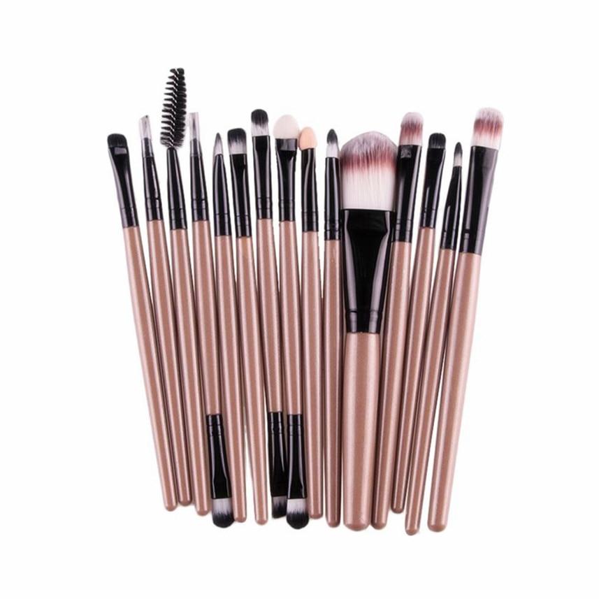 MAANGE 2017 15PCS Gold Makeup Brushes Professional Cosmetics Powder Blush Foundation Eyeshadow Eyeliner Lip Brush Beauty Make up