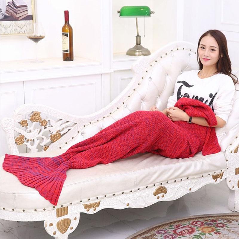 ФОТО Yarn Knitted Mermaid Tail Blanket 180x90cm Sofa Blanket Handmade Crochet Anti-Pilling Portable Blanket freeshipping