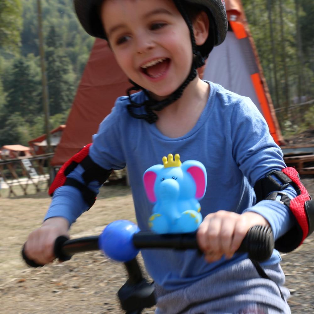 lahomia Ni/ñas Bicicleta Cesta Delantera Kid Bicicleta Scooter Manillar Streamer Air Horn Bell Set