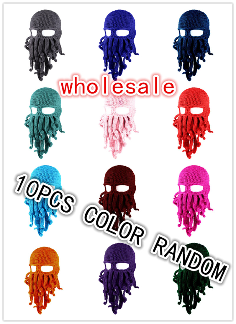 BomHCS Wholesale 10PCS Funny Tentacle Octopus Cthulhu Crochet Beanie Hat Cap Wind Mask