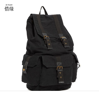 Vintage Military Style Black Men's Canvas Drawstring Army Green Backpack Large Capacity Male Khaki Travel Rucksack Luggage Bag casual canvas women backpack simple cover large capacity travelling bag khaki blue rose red and green colors big and small