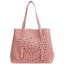 купить New Designed Hollow Out Floral Shoulder Bags Women handbag women designed tote bags 2 pcs women pu leather tote bag ladies bags по цене 889.69 рублей
