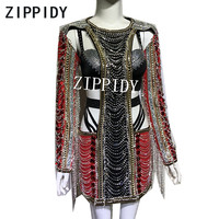 Flashing Rhinestones Black Red Dress Hollow Design Costume Women's Birthday Party Clothes Female Singer Show Outfit Sexy Dresses
