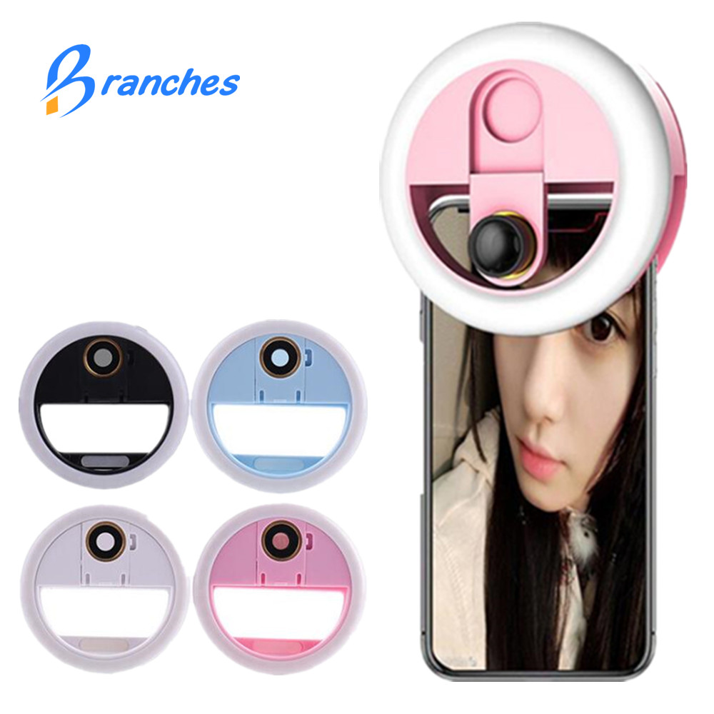 3 in 1 LED Selfie Ring Light Beauty Live Stream Enhancing Lamp with Wide Angle/Macro Phone Camera Lens for iPhone xiaomi