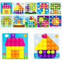 3D Puzzles Toys For Children Composite Picture Puzzle Creative Mosaic Mushroom Nail Kit Educational Toys 10pcs cartoon paper