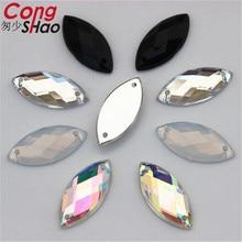 Конг Шао 200 шт. 9*20 мм акриловые стразы швейные камни Кристаллы камней для одежды украшения Ремесло пришить 2 отверстия YB41