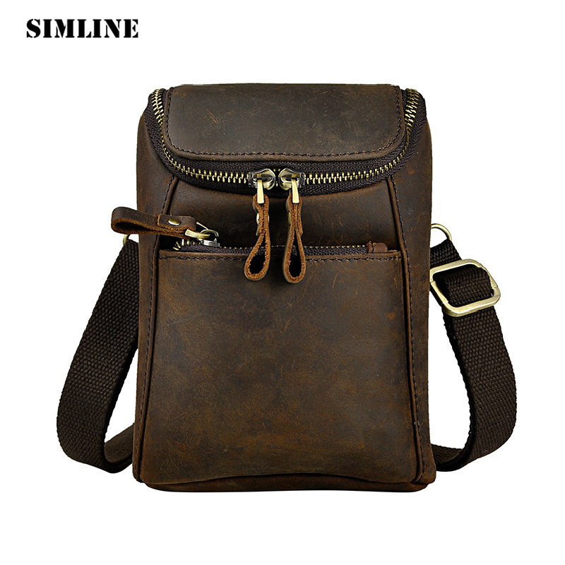 SIMLINE Vintage Casual 100% Genuine Leather Real Cowhide Mens Men Waist Bag Pack Small Shoulder Crossbody Bag Bags Packs For Man vintage bags real genuine leather cowhide men waist pack pouch for men leather waist bag outdoor travle belt wallets vp j7144