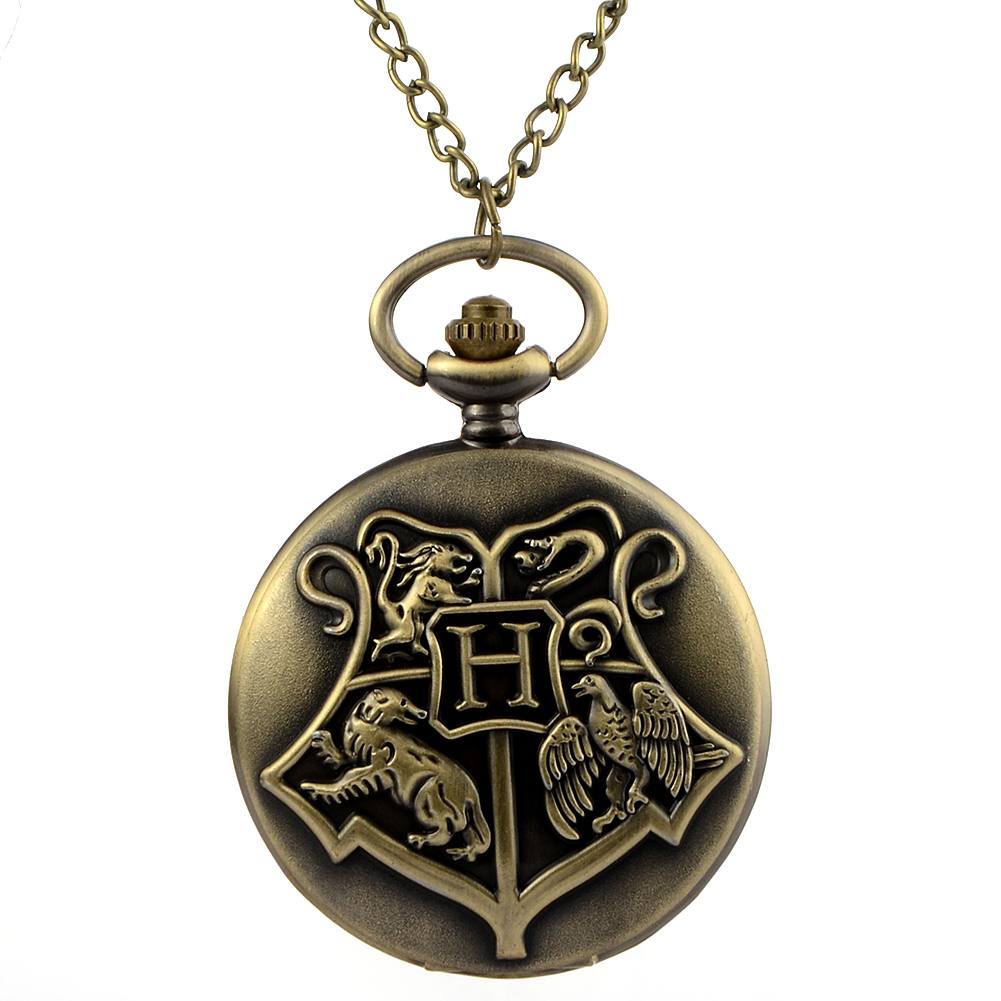 Retro Harry Potter Necklace Pocket Watches Steampunk Fob Watch Quartz Pendant Clock  birthday gift retro steampunk bronze pocket watch eagle wings hollow quartz fob watch necklace pendant chain antique clock men women gift