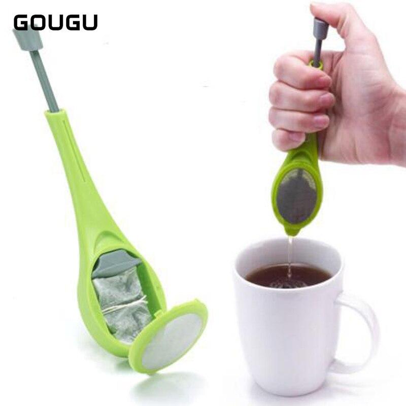 2018 Tea Infuser Push Pluger Silicone Reusable Tea Bag Plastic Tea&Coffee Strainer Measure Swirl Steep Stir&Press