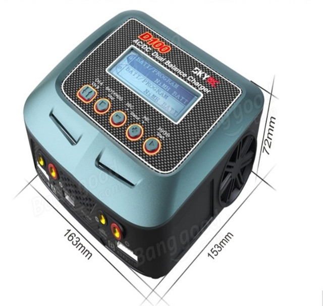 SKYRC AC / DC 100-240V 1-6S 2x 100W Dual Balance Charger D100 for RC Model Airplane Multicopter