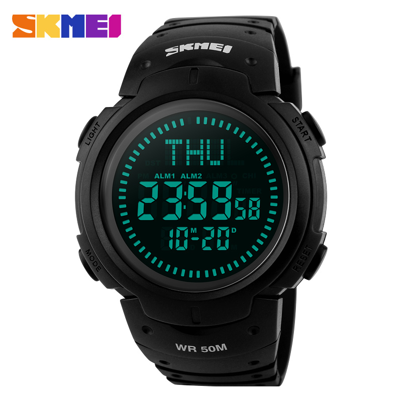 SKMEI Merk Heren Sport Horloges 5ATM Waterdicht Digitaal Buiten Militair Horloge EL Backlight Kompas Countdown Horloges
