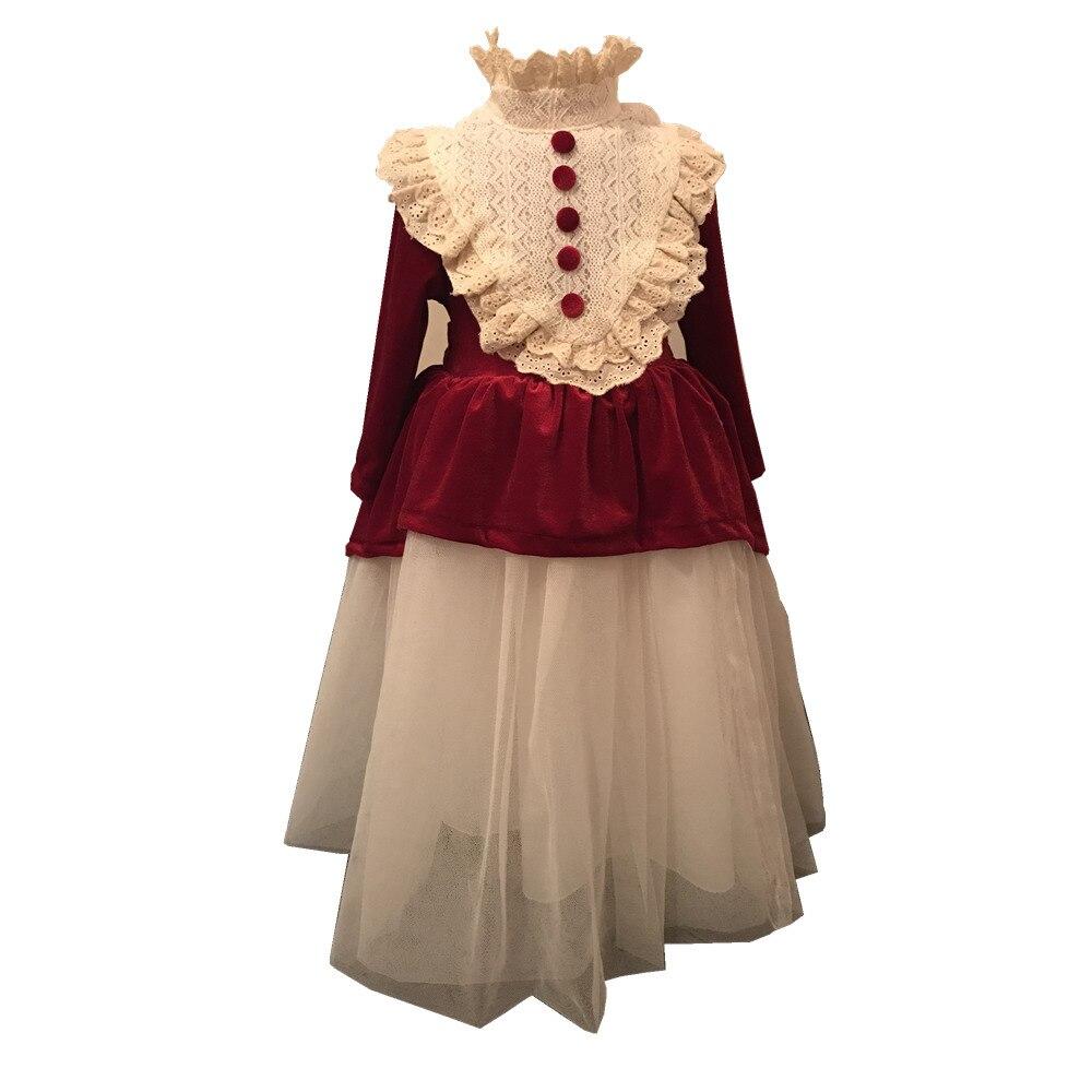 Velvet Thicken Autumn Winter Girl Vintage Spanish Dress