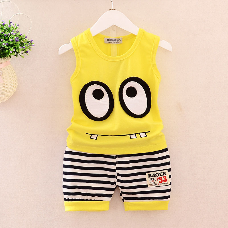 2019 new baby boy clothes suit summer cartoon big eyes vest sport 100% cotton kids clothing sets for boys body