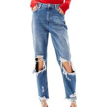 2017 летние брюки джинсовые женские брюки случайные отверстия джинсы женщина свободные женской одежды высокой талии джинсы