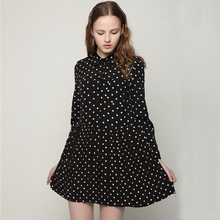 2017 Spring/Summer Turn Down Collar Polka Dots Pleated Chiffon Dress Casual Single Breasted Dress