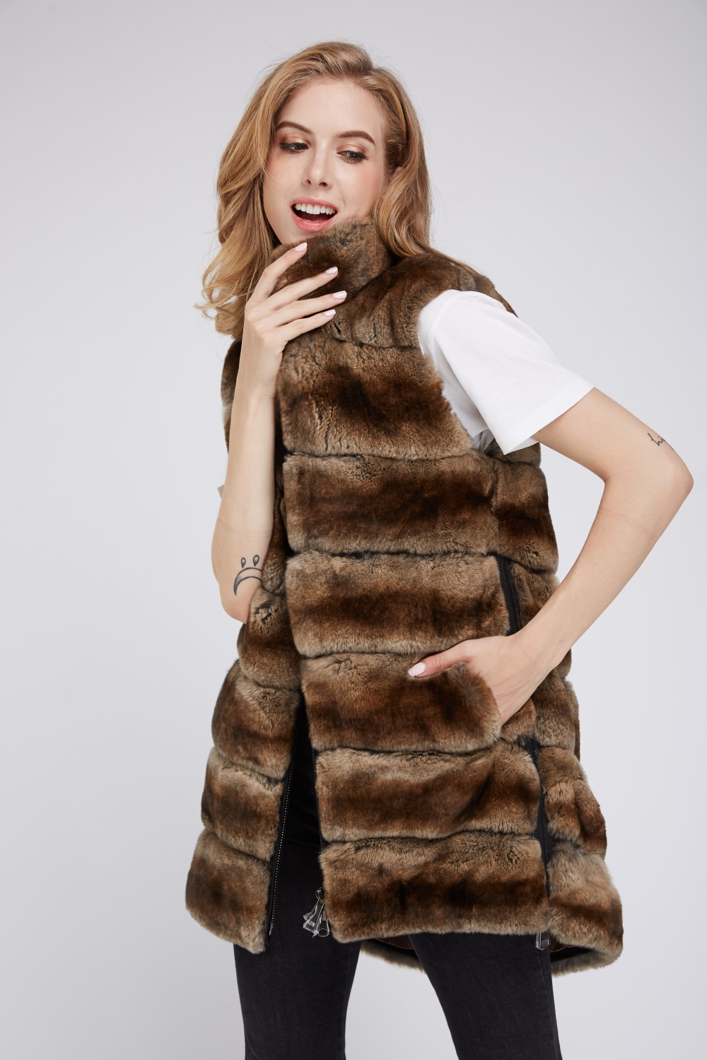 Qualité Pour Mode Les Manteaux 1 De Outwear Automne Véritable color Femmes Haute Marque Gilet Vente Hiver color 3 Color 2 Lapin Fourrure Manteau OxawCnqSY