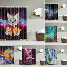 Bathroom Shower Curtains Polyester Fabric with 12 Hooks