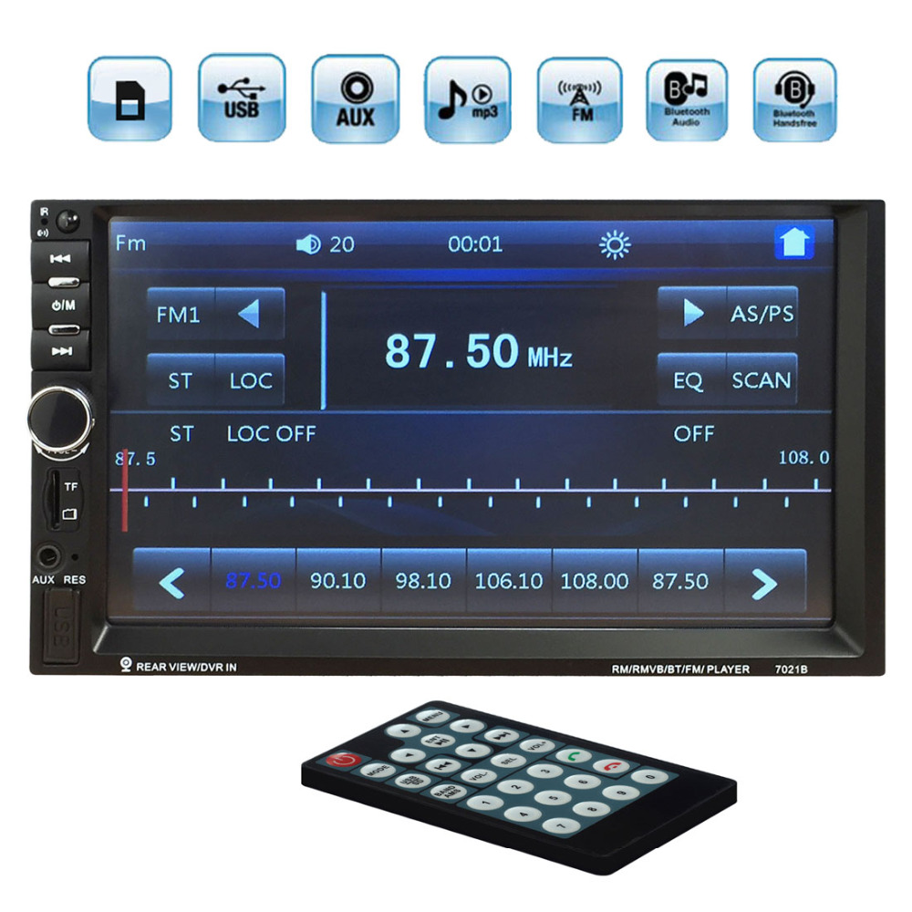7 inch Touch Screen Bluetooth Auto Car MP5 Video Player 2 Double din Support Handsfree USB / TF / AUX / FM + Remote Control at050tn33 touch screen 5 inch x580lec520p