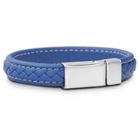 Fashion Men S Jewelry Blue Leather Wrap Bracelet Handemade Braided 14mm Rope With Stainless Steel Magnetic