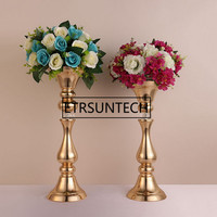 10pcs Gold flower rack 45cm 50 cm tall candle holder wedding table centerpieces vase decoration event party road lead