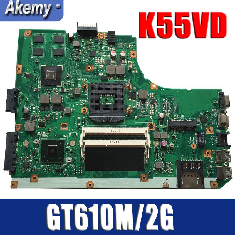 For Asus K55A K55VD U57A Laptop Motherboard 69N0M7M17C04 GT610M Mainboard Tested