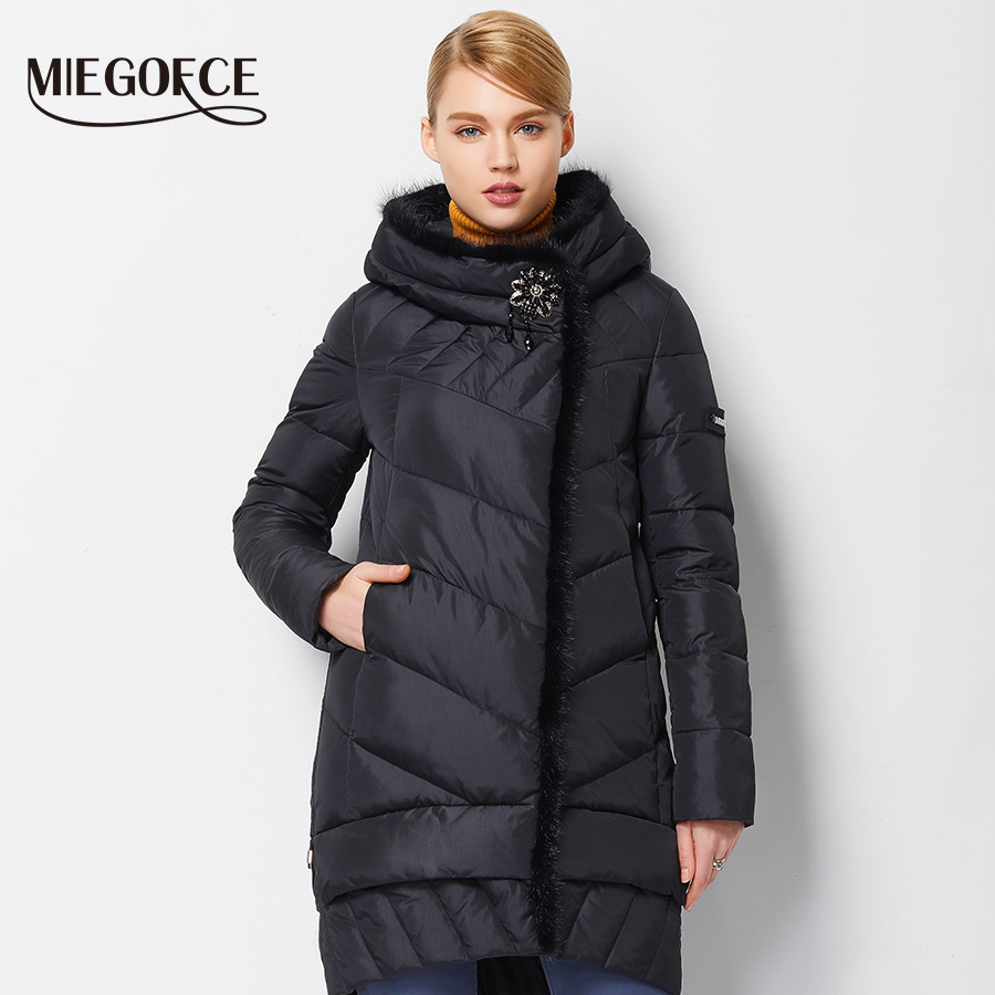 miegofce 2016 new winter women coat jacket medium length. Black Bedroom Furniture Sets. Home Design Ideas