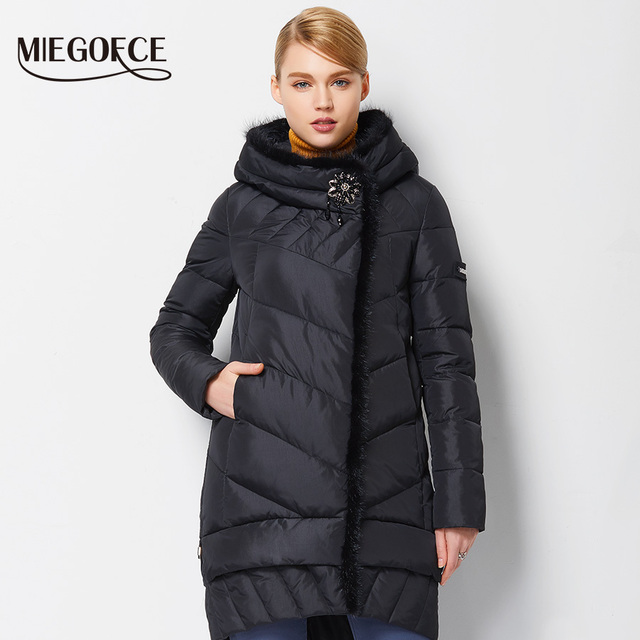 MIEGOFCE 2016 New Winter Women Down Coat Jacket  Medium Length Warm High Quality Woman Down Parka Winter Coat with Sable Fur