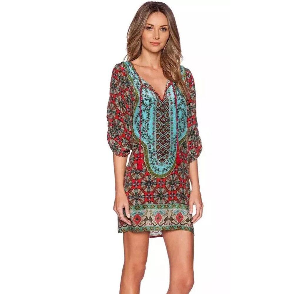 Hot Women Summer Dress Fashion Plus Size Loose Bohemian -5973