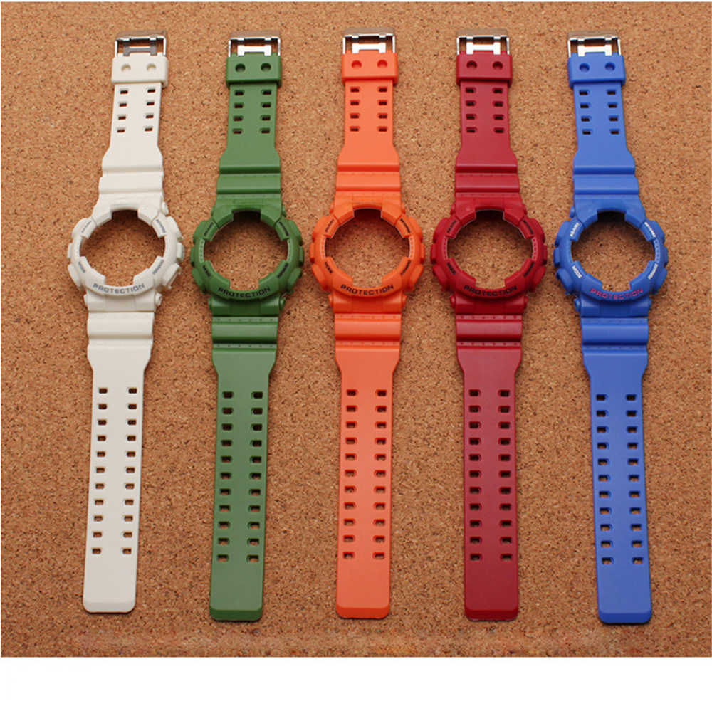21cm Rubber Watchband Dial Case Strap For Casio G Shock Ga 110 Ga 100 120 Waterproof Watchband Sports Watch Bracelet