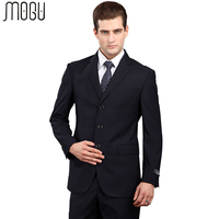 MOGU Solid Men's Suits 2017 New Fashion Two Piece Pure Color Formal Suits For Men Slim Fit High Quality Asian Size 4XL Men Suits