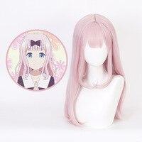 Tokyo Anime kaguya sama: love is war Fujiwara Chika cosplay wig sweet long pink wavy lolita hair wig with free hair cap