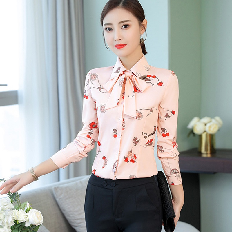 Office Lady Long Sleeve   Blouse     Shirt   Female Autumn Fashion Slim Bow Turn-down Collar   Blouse   Wild Professional Print Women Tops