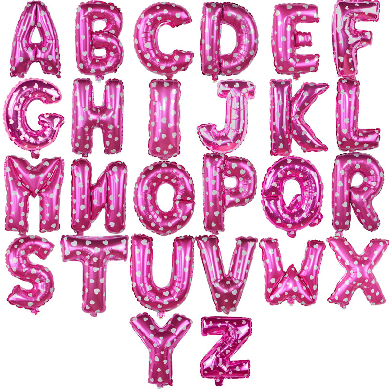 1pc 16 Pink Foil Balloons Letter Inflatable Ballons Alphabet Air Ballon Birthday Wedding Decoration Baby Shower Party Supplies