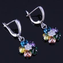 Shiny Flower Multigem Multicolor Yellow Cubic Zirconia White CZ 925 Sterling Silver Drop Dangle Earrings For Women V0765